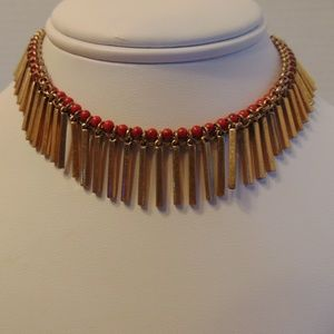 Nordstrom Treasure & Bond gold tone & red necklace